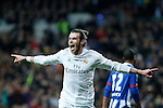 Real Madrid´s Gareth Bale celebrates a goal during 2015/16 La Liga match between Real Madrid and Deportivo de la Coruna at Santiago Bernabeu stadium in Madrid, Spain. January 09, 2015. (ALTERPHOTOS/Victor Blanco)