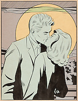 Young couple kissing in moonlight