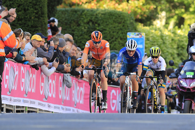 Anna Van Der Breggan (NED), Elisa Longo Borghini (ITA) and Amanda Spratt (AUS) on the first circuit of Harrogate during the Women Elite Road Race of the UCI World Championships 2019 running 149.4km from Bradford to Harrogate, England. 28th September 2019.<br /> Picture: Eoin Clarke | Cyclefile<br /> <br /> All photos usage must carry mandatory copyright credit (© Cyclefile | Eoin Clarke)