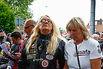 LONDON, ENGLAND, 22 May ,2014.  Julia Stevenson (2nd Right), the organiser of over 1,500 bikers that turned out to to mark the first anniversary of the murder of Fusilier Lee Rigby  near his Woolwich barracks.