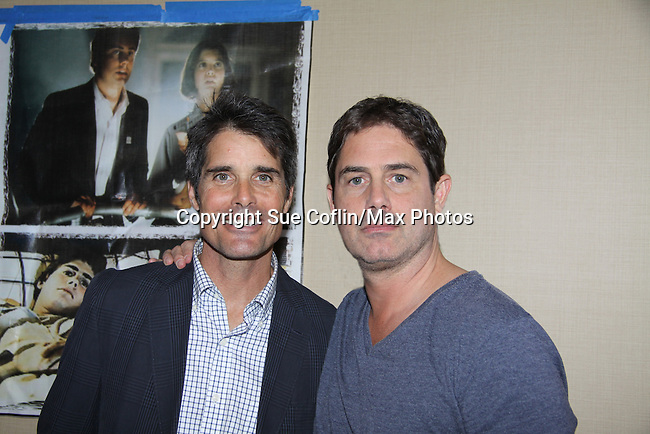 "Young and the Restless, Bold and the Beautiful and Sunset Beach Peter Barton ""Scott Grainger"" poses with Zach Galligan in Gremlins at Chiller Theatre - Toy, Model and Film Expo was held over the weekend - October 27, 2013 at the Sheraton Hotel, Parsippany, New Jersey - (Photo by Sue Coflin/Max Photos)"