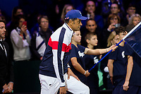 Le joueur de tennis fran&ccedil;ais Lucas Pouille oppos&eacute; au joueur Croate Marin Cilic lors de la  Finale de la Coupe Davis France vs Croatie, au Stade Pierre Mauroy &agrave; Villeneuve d'Ascq .<br /> France, Villeneuve d'Ascq , 25 novembre 2018.<br /> French tennis player Lucas Pouille vs Croatian tennis players Marin Cilic during the final of the Davis Cup, at the Pierre Mauroy stadium in Villeneuve d'Ascq .<br /> France, Villeneuve d'Ascq , 25 November 2018<br /> Pic : Yannick Noah