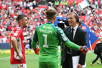 Charlton goalkeeper, Dillon Phillips, explains to the Sky Sports reporter how he conceded an early own goal from Naby Sarr during Charlton Athletic vs Sunderland AFC, Sky Bet EFL League 1 Play-Off Final Football at Wembley Stadium on 26th May 201