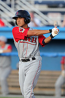 Lowell Spinners shortstop James Kang during a game vs. the Batavia Muckdogs at Dwyer Stadium in Batavia, New York July 14, 2010.   Batavia defeated Lowell 12-2.  Photo By Mike Janes/Four Seam Images