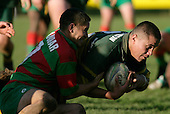 D. Crighton gets takern to ground by A. Murphy. Counties Manukau Premier Club Rugby, Pukekohe v Waiuku  played at the Colin Lawrie field, on the 3rd of 2006.Pukekohe won 36 - 14