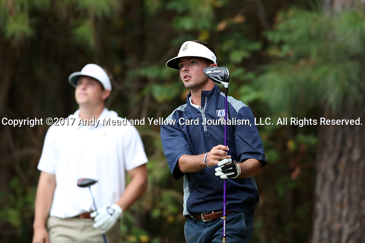 CHAPEL HILL, NC - OCTOBER 07: UNCG's Justin Emmons on the 3rd tee. The first round of the Tar Heel Intercollegiate Men's Golf Tournament was held on October 7, 2017, at the UNC Finley Golf Course in Chapel Hill, NC.
