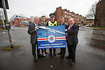 (L-R): Cllr John Kane, Rangers' Andy Halliday, Chief Inspector Simon Jeacocke, Rangers Managing Director Stewart Robertson and Cllr Stephen Dornan launch the club's new Community Engagement programme