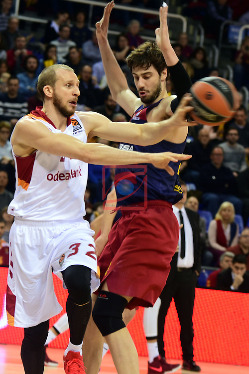 Turkish Airlines Euroleague 2016/2017.<br /> Regular Season - Round 22.<br /> FC Barcelona Lassa vs Galatasaray Odeabank Istanbul: 62-69.<br /> Sinan Guler vs Ante Tomic.