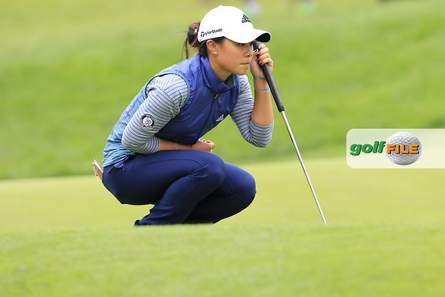Danielle Kang (USA) lines up her putt on the 12th green during Saturday's Round 3 of The 2016 Evian Championship held at Evian Resort Golf Club, Evian-les-Bains, France. 17th September 2016.<br /> Picture: Eoin Clarke | Golffile<br /> <br /> <br /> All photos usage must carry mandatory copyright credit (&copy; Golffile | Eoin Clarke)