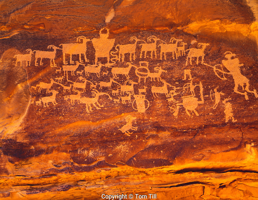 The Hunting Panel, Ancient Fremont Culture Rock Art, Nine-Mile Canyon, Nine Mile Canyon Scenic Byway, Utah