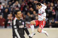 Juan Pablo Angel (9) of the New York Red Bulls celebrates scoring his first goal of the game in the 56th minute as FC Dallas goalkeeper Dario Sala (44) reacts. The New York Red Bulls defeated FC Dallas 2-1 during a Major League Soccer (MLS) match at Red Bull Arena in Harrison, NJ, on April 17, 2010.