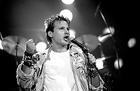 """Corey Hart in concert at the Spectrum on December 28, 1984.<br /> <br /> Hart will perform  this upcoming May 31, 2014 in his Montreal hometown what he says will be his last live performance<br /> <br />  Best known for such hit singles """"Sunglasses at Night"""" and """"Never Surrender"""". He has sold over 16 million records worldwide and scored nine US Billboard Top 40 hits. <br /> <br /> <br /> File Photo : Agence Quebec Presse - Denis Alix"""