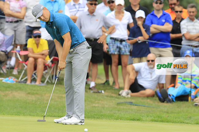 Jordan Spieth (USA) takes his putt on the 7th green during Sunday's Final Round of the 2015 Bridgestone Invitational World Golf Championship held at the Firestone Country Club, Akron, Ohio, United States of America. 9/08/2015.<br /> Picture Eoin Clarke, www.golffile.ie