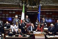 Roma, 19 Aprile 2013.Camera dei Deputati.Votazione del Presidente della Repubblica a camere riunite..Simona Vicari e Alessandra Mussolini protestano in Aula indossando magliette contro Prodi. Quarto Scrutinio