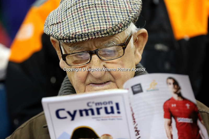 Pictured: An elderly Wales supporter reading the match programme. Saturday 08 November 2014<br />
