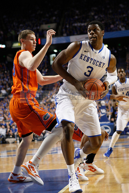 UK forward Terrence Jones drives the ball during the first half of the University of Kentucky Men's basketball game against University of Florida on 2/7/12 in Lexington, Ky. Photo by Quianna Lige | Staff