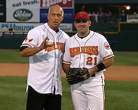 August 29, 2003:  Shane Andrews poses with Cal Ripken Jr. after throwing out the first pitch as Ripken was inducted into the Rochester Red Wings Hall of Fame before an International League game at Frontier Field in Rochester, NY.  Photo by:  Mike Janes/Four Seam Images
