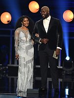 SANTA MONICA - JANUARY 13: Angela Bassett (L) and Winston Duke appear on the 24th Annual Critics' Choice Awards at the Barker Hangar on January 13, 2019, in Santa Monica, California. (Photo by Frank Micelotta/PictureGroup)