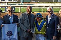 "ARCADIA, CA. SEPTEMBER 30:Lyn Swann, Drayden Van Dyke and Bob Baffert in the wWinners' Circle after Mubtaahij wins the Awesome Again Stakes (Grade l) ""Win and You're In Classic Division"" on September 30, 2017 at Santa Anita Park in Arcadia, CA.(Photo by Casey Phillips/Eclipse Sportswire/Getty Images)"
