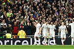Real Madrid's Marcelo Vieira, Karim Benzema  during Champions League match between Real Madrid and Borussia Dortmund  at Santiago Bernabeu Stadium in Madrid , Spain. December 07, 2016. (ALTERPHOTOS/Rodrigo Jimenez)