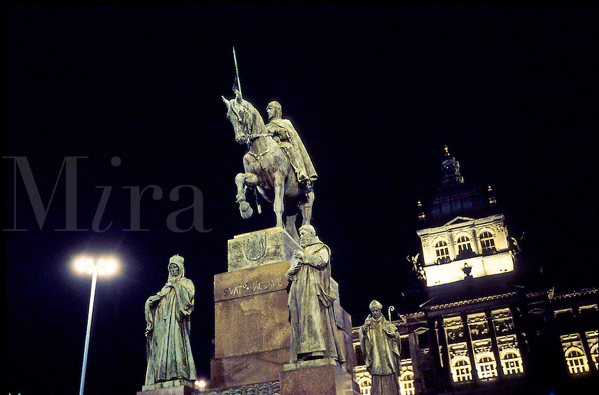 The St. Wenceslas Memorial in Prague's Wenceslas Square with the National Museum in the background. Prague, Bohemia, Czech Republic.