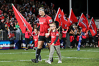 Double centurion Wyatt Crockett walks out for the Super Rugby match between the Crusaders and Highlanders at Wyatt Crockett Stadium in Christchurch, New Zealand on Friday, 06 July 2018. Photo: Martin Hunter / lintottphoto.co.nz
