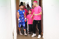 Lee Haskins (L) and son Anton (R) during a Boxing Show at Whitchurch Leisure Centre on 5th October 2019. Lee Haskins and his son Anton Haskins both appeared on the same card, Anton making his professional debut.
