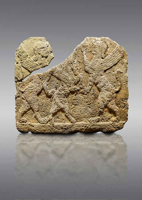 Hittite relief sculpted orthostat stone panel of Herald's Wall Limestone, Karkamıs, (Kargamıs), Carchemish (Karkemish), 900-700 B.C. Anatolian Civilisations Museum, Ankara, Turkey.<br /> <br /> Two sphinxes standing on their hind legs on both sides attack to the winged horse standing on its hind legs in the middle.