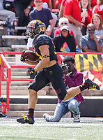 College Park, MD - September 9, 2017: Maryland Terrapins running back Jake Funk (34) scores a touchdown during game between Towson and Maryland at  Capital One Field at Maryland Stadium in College Park, MD.  (Photo by Elliott Brown/Media Images International)