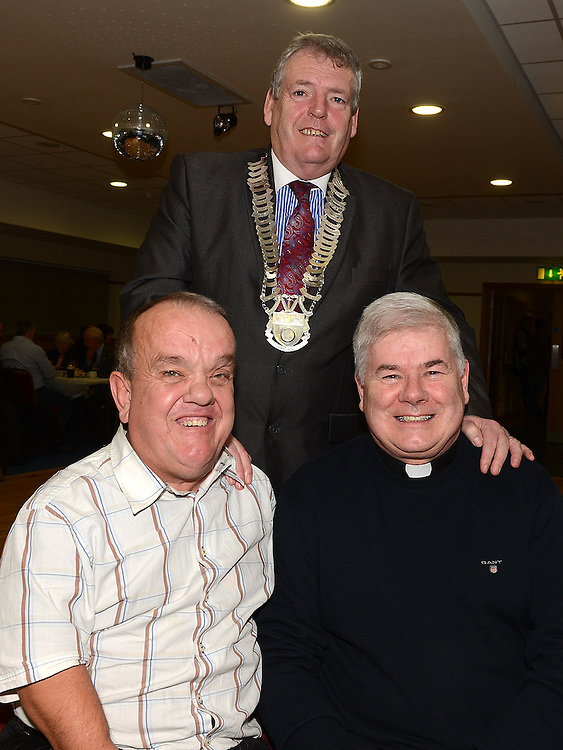 Chairperson of Louth County Council Finan McCoy, Noel Rooney and Fr Murphy pictured at St mary's GFC Ardee awards night. Photo:Colin Bell/pressphotos.ie