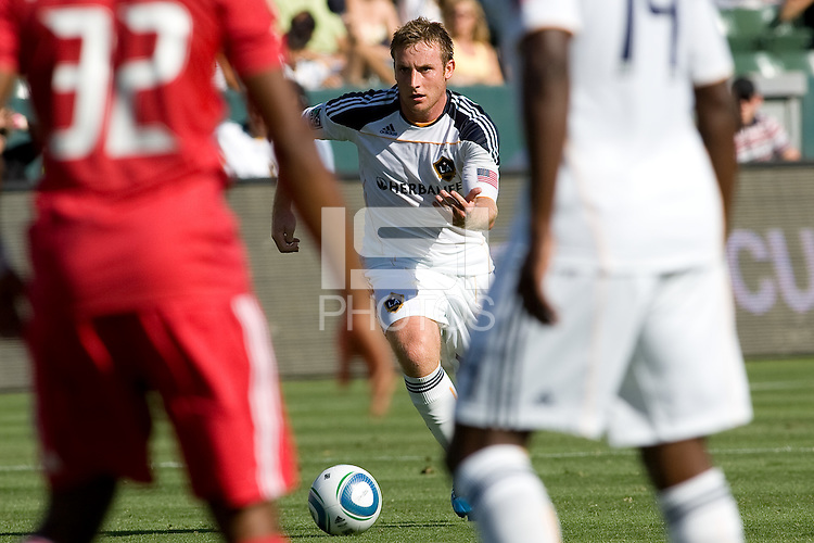 Chris Birchall of the LA Galaxy moves to the ball. The Chicago Fire beat the LA Galaxy 3-2 at Home Depot Center stadium in Carson, California on Sunday August 1, 2010.