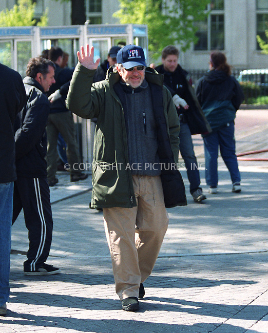 "Director Steven Spielberg prepares to film ""Catch Me if You Can"" starring Tom Hanks in Yonkers, New York. April 30, 2002. Please byline: Alecsey Boldeskul/NY Photo Press.   ..*PAY-PER-USE*      ....NY Photo Press:  ..phone (646) 267-6913;   ..e-mail: info@nyphotopress.com"