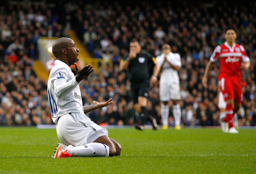 Tottenham Hotspur's Jermain Defoe shows his dejection..Football - Barclays Premiership - Tottenham Hotspur v Queens Park Rangers - Sunday 23rd September 2012 - White Hart Lane - London..