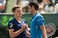 DAVID GOFFIN (BEL), NOVAK DJOKOVIC (SRB)<br /> <br /> MIAMI OPEN, CRANDON PARK, KEY BISCAYNE, MIAMI, FLORIDA, USA<br /> <br /> &copy; AMN IMAGES