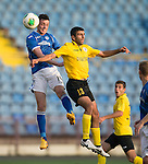 Alashkert FC v St Johnstone...02.07.15   Republican Stadium, Yerevan, Armenia....UEFA Europa League Qualifier.<br /> Joe Shaughnessy gets above Gevorg Poghosyan<br /> Picture by Graeme Hart.<br /> Copyright Perthshire Picture Agency<br /> Tel: 01738 623350  Mobile: 07990 594431