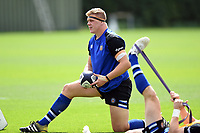 Sam Nixon of Bath United looks on during the pre-match warm-up. Premiership Rugby Shield match, between Bristol Bears A and Bath United on August 31, 2018 at the Cribbs Causeway Ground in Bristol, England. Photo by: Patrick Khachfe / Onside Images