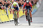 Guillaume Martin (FRA) Wanty-Gobert and Dylan Teuns (BEL) Bahrain-Merida sprint for the finish of Stage 2 of the Criterium du Dauphine 2019, running 180km from Mauriac to Craponne-sur-Arzon, France. 9th June 2019<br /> Picture: ASO/Alex Broadway | Cyclefile<br /> All photos usage must carry mandatory copyright credit (© Cyclefile | ASO/Alex Broadway)