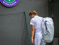 London, England, 1  st July, 2019, Tennis,  Wimbledon, Alexander Zverev (GER) leaves the court after loosing in the first round to Vessely (CZE)<br /> Photo: Henk Koster/tennisimages.com