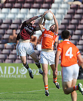20th July 2013; Danny Cummins, Galway, and Brendan Donaghy, Armagh, contest a high ball. All Ireland Football Senior Championship Round 3, Galway v Armagh, Pearse Stadium, Galway