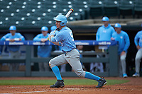 Brian Miller (5) of the North Carolina Tar Heels follows through on his swing against the Boston College Eagles in Game Five of the 2017 ACC Baseball Championship at Louisville Slugger Field on May 25, 2017 in Louisville, Kentucky. The Tar Heels defeated the Eagles 10-0 in a game called after 7 innings by the Mercy Rule. (Brian Westerholt/Four Seam Images)