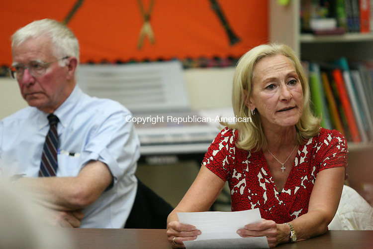 WINSTED, CT - 11 September, 2008 - 091108MO04 - School board Chairman Rose P. Molinelli, seen here with fellow board member Dr. Richard Dutton, joined a group of educators decrying reductions to their requested budget by selectmen. Mayor Kenneth J. Fracasso said he would seek to restore all of the $300,000 cut by his board July 31. Jim Moore Republican-American.