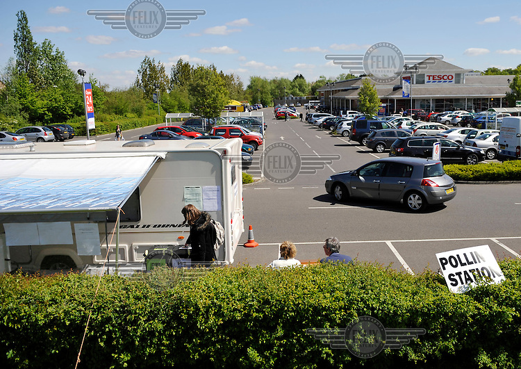 A polling station in a Tesco Car park in Fulbourne,  Cambridgeshire, on the day of the general election..