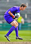 12 October 2011: University of Vermont Catamount Goalkeeper Dave Ramada, a Junior from Essex, VT, makes a save against the Boston University Terriers at Centennial Field in Burlington, Vermont. The Catamounts were edged out 1-0 by the visiting Terriers. Mandatory Credit: Ed Wolfstein Photo