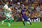 League Santander 2017/2018. Game: 01.<br /> FC Barcelona vs Real Betis: 2-0.<br /> Lionel Messi vs Feddal.