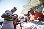 World Champion Peter Sagan (SVK) Tinkoff-Saxo at sign on before Stage 4, The Yas Stage, of the 2015 Abu Dhabi Tour running 110 km 20 laps around the Yas Marina Circuit, Abu Dhabi. 11th October 2015.<br /> Picture: ANSA/Angelo Carconi | Newsfile