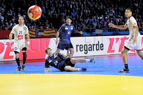 13.01.2017. Parc Exposition XXL, Nantes, France. 25th World Handball Championships France versus Japan. Hiroki Shida Japan watches his shot fire towards the goal