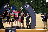 André Greipel (DEU/Lotto-Soudal) is King of the sprinters and the Champs Elysées. He shares the podium with his daughters.<br /> <br /> stage 21: Sèvres - Champs Elysées (109km)<br /> 2015 Tour de France