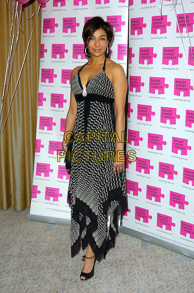 SHOBNA GULATI.Attends The Pink Ribbon Ball, The Dorchester Hotel,.London, England, October 6th 2007..full length black and white print halterneck dress ankle strap shoes.CAP/CAN.©Can Nguyen/Capital Pictures