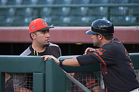 AZL Giants Black coach Travis Ishikawa before an Arizona League game against the AZL Royals at Scottsdale Stadium on August 7, 2018 in Scottsdale, Arizona. The AZL Giants Black defeated the AZL Royals by a score of 2-1. (Zachary Lucy/Four Seam Images)