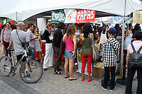 People lining up for food at the Mexico Fest 2012 celebrations on Sept. 8, 2012 in Vancouver, British Columbia, Canada. These celebrations commemorated 202 years of Mexican Independence.